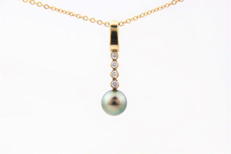 pearl and diamonds pendant